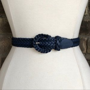 Vintage Belt S Women's Leather Braided Blue